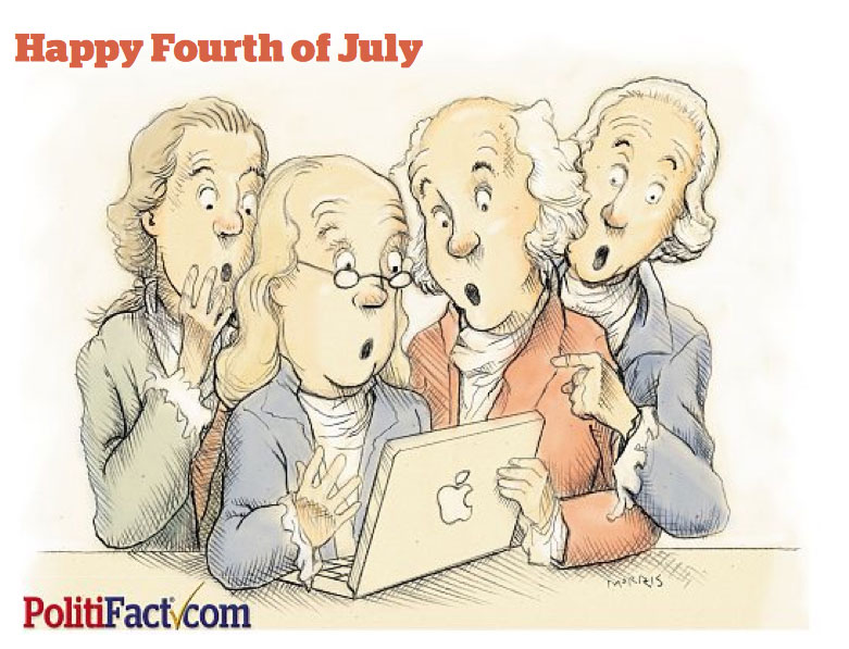 Our story on fact-checks about the Founding Fathers was our most popular story in July. (Tampa Bay Times Illustration by Don Morris)