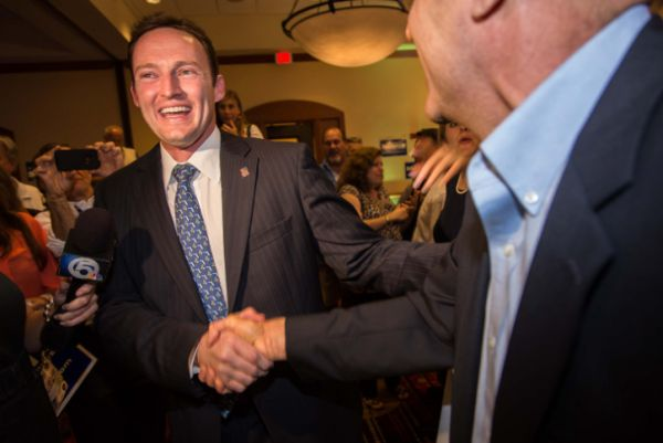 Patrick Murphy celebrates his election to Congress in Palm Beach Gardens, Fla., on Nov. 7, 2012.