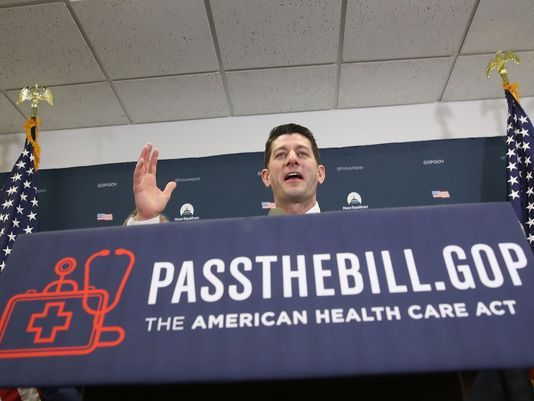 U.S. House Speaker Paul Ryan, R-Wis., speaks to reporters after President Donald Trump spoke to House Republicans about the GOP plan to replace Obamacare two days before the House vote. (Getty Images)