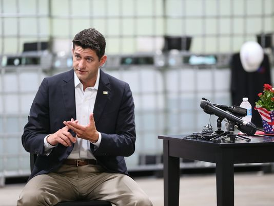U.S. House Speaker Paul Ryan visited a company in his district, in Oak Creek, Wis., in July 2017. (Michael Sears/Milwaukee Journal Sentinel)