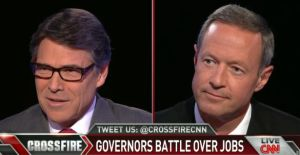 """Govs. Rick Perry of Texas and Martin O'Malley of Maryland faced off over job-creation policy on CNN's """"Crossfire."""""""
