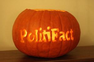 Our PolitiFact jack-o-lantern