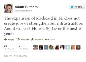 Adam Putnam is against expanding Medicaid in Florida.