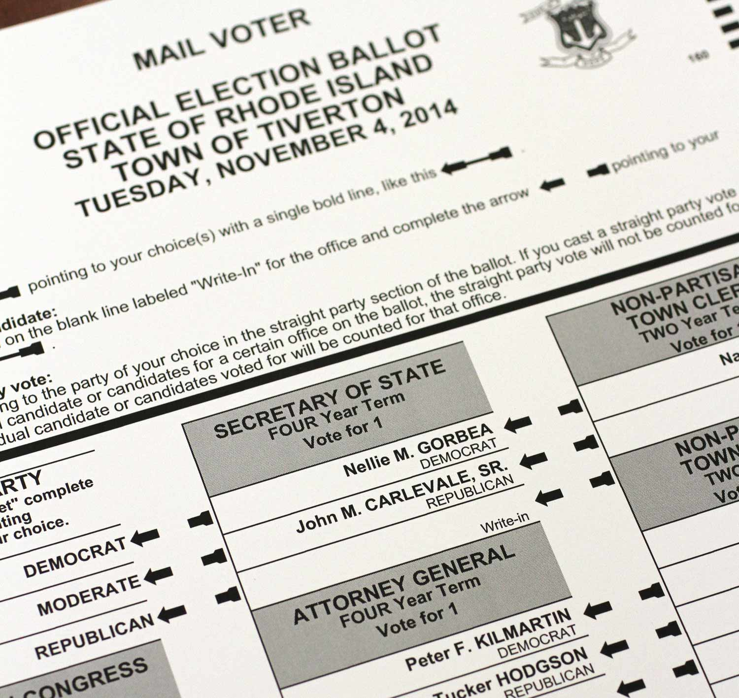 Samples mail ballot for the Nov. 4, 2014 Rhode Island general election