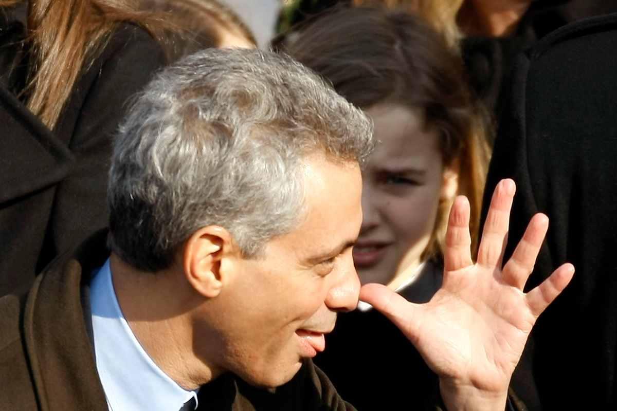 Then-Chief of Staff Rahm Emanuel makes a funny gesture ahead of Barack Obama's inauguration as 44th President of the United States on January 20, 2009 in Washington, D.C. (Chip Somodevilla/Getty Images)