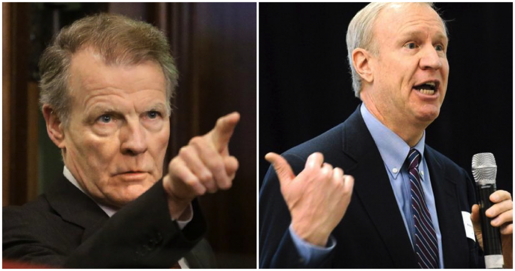 Side-by-side of Gov. Bruce Rauner and House Speaker Michael Madigan