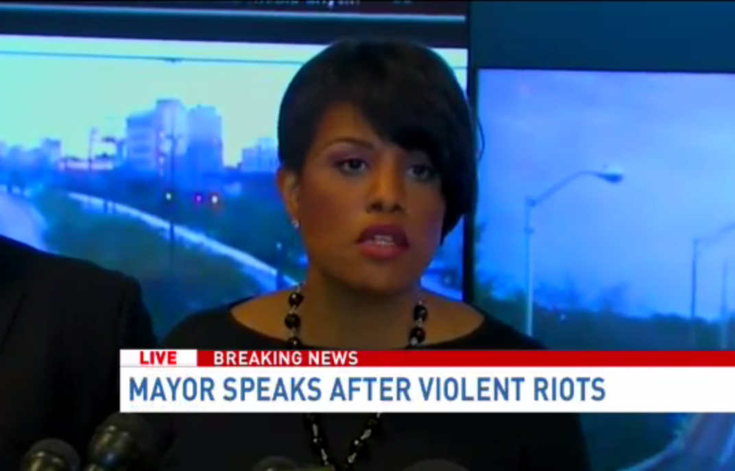 Baltimore Mayor Stephanie Rawlings-Blake reacts to charges that she allowed rioters to loot and burn.