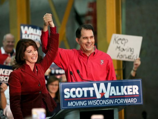Wisconsin Lt. Gov. Rebecca Kleefisch and Gov. Scott Walker announced their re-election bids on Nov. 5, 2017. (Michael Sears/Milwaukee Journal Sentinel)