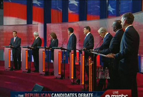 Eight Republican candidates took part in the debate at the Reagan Library.