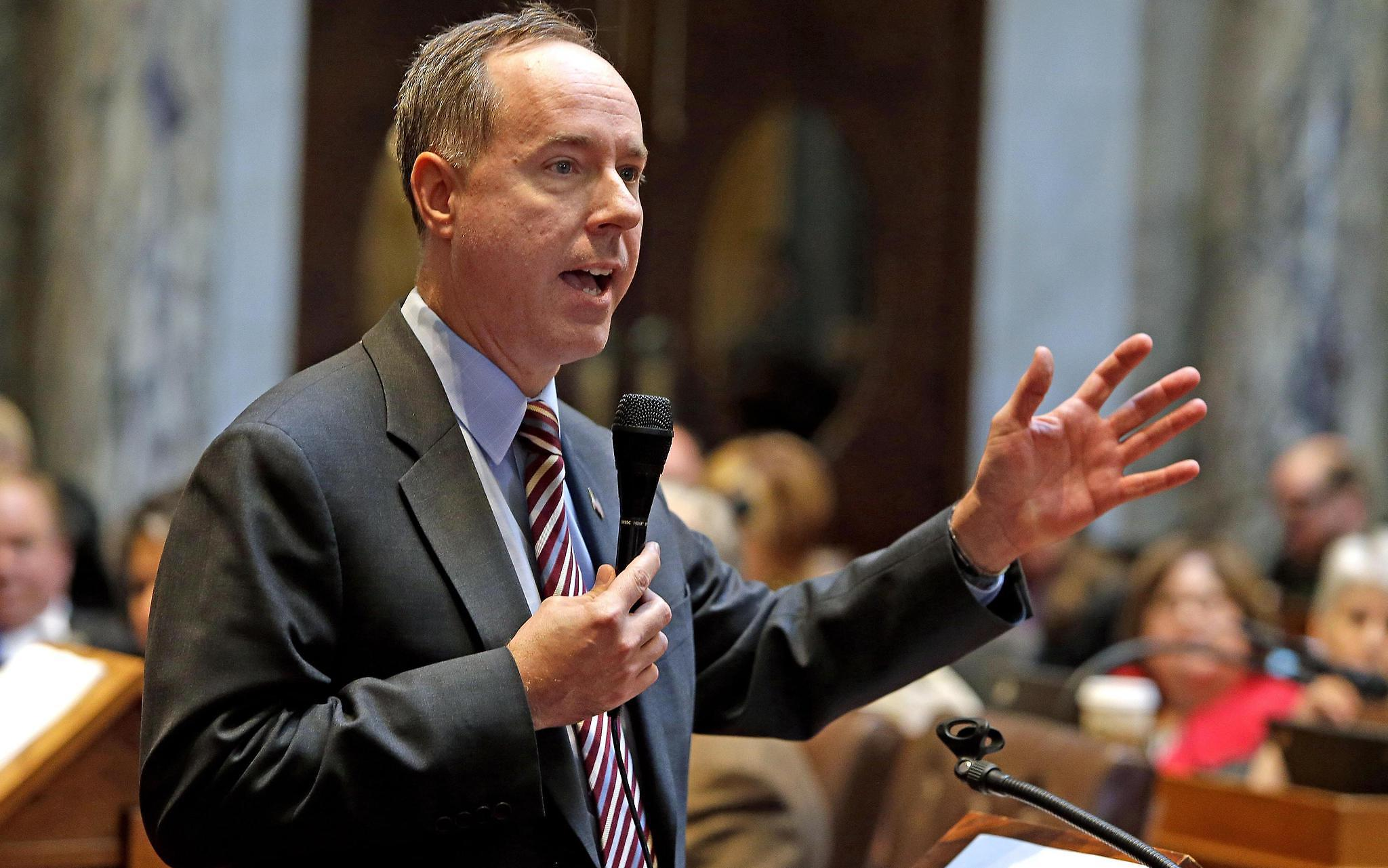 "Wisconsin Assembly Speaker Robin Vos, a Republican, called Republican state senators ""terrorists"" as a result of maneuvers in the state budget process. (Rick Wood/Milwaukee Journal Sentinel)"