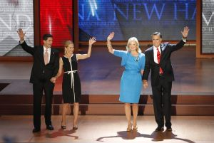 Janna and Paul Ryan with Ann and Mitt Romney at the Republican National Convention in Tampa.
