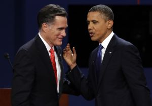 Mitt Romney and Barack Obama meet at the first presidential debate on Oct. 3 in Denver.