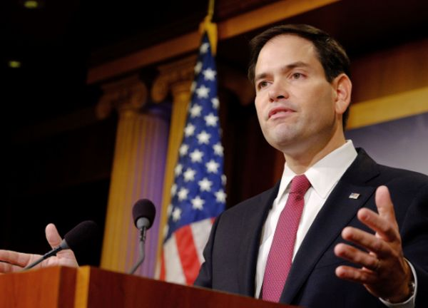 Sen. Marco Rubio, R-Fla., reacts to President Barack Obama's announcement about revising policies on U.S.-Cuba relations on Dec. 17, 2014.