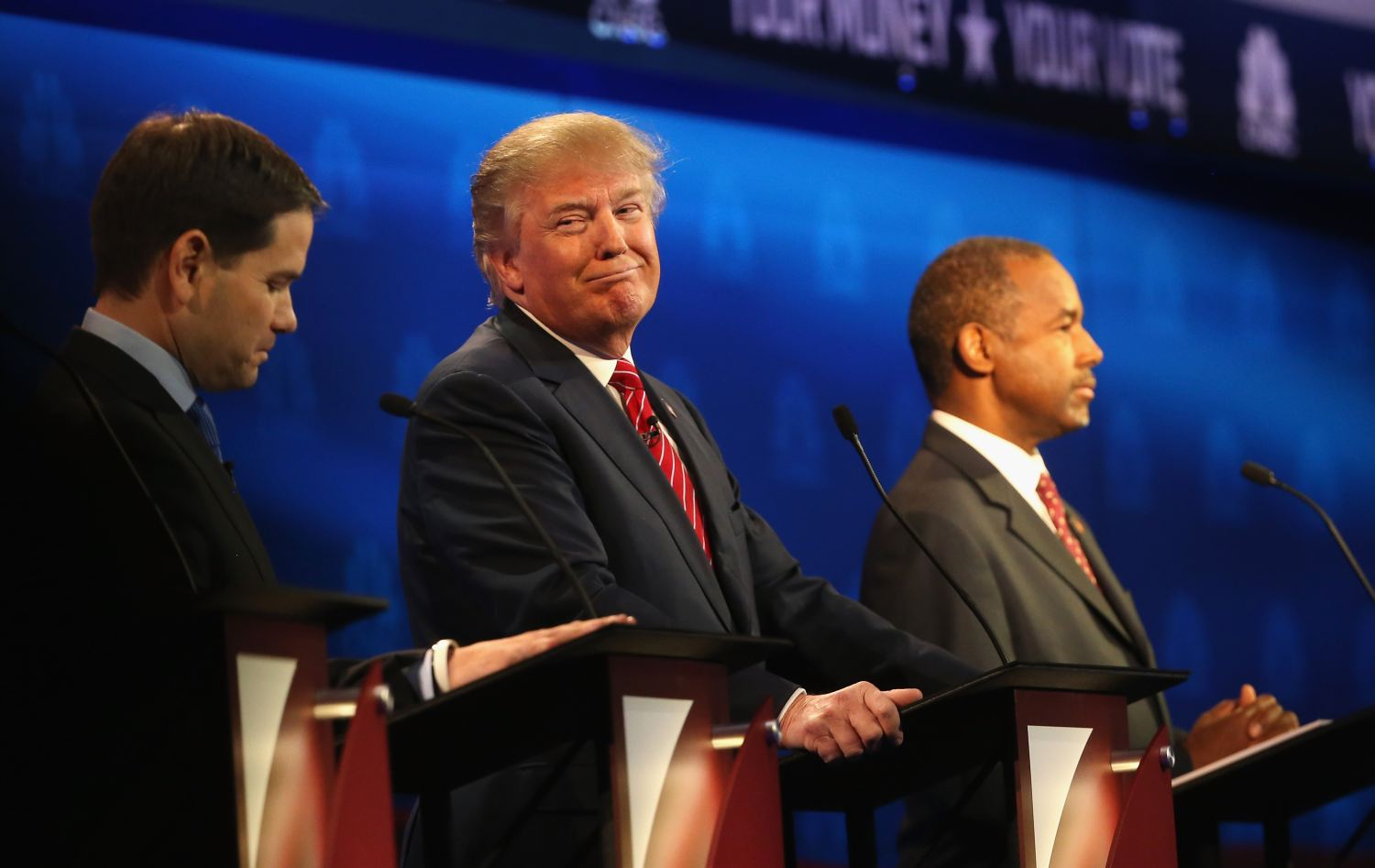 Presidential candidates Marco Rubio, Donald Trump and Ben Carson took the stage at the CNBC Republican Presidential Debate on Oct. 28, 2015, in Boulder, Colo. (Getty Images)