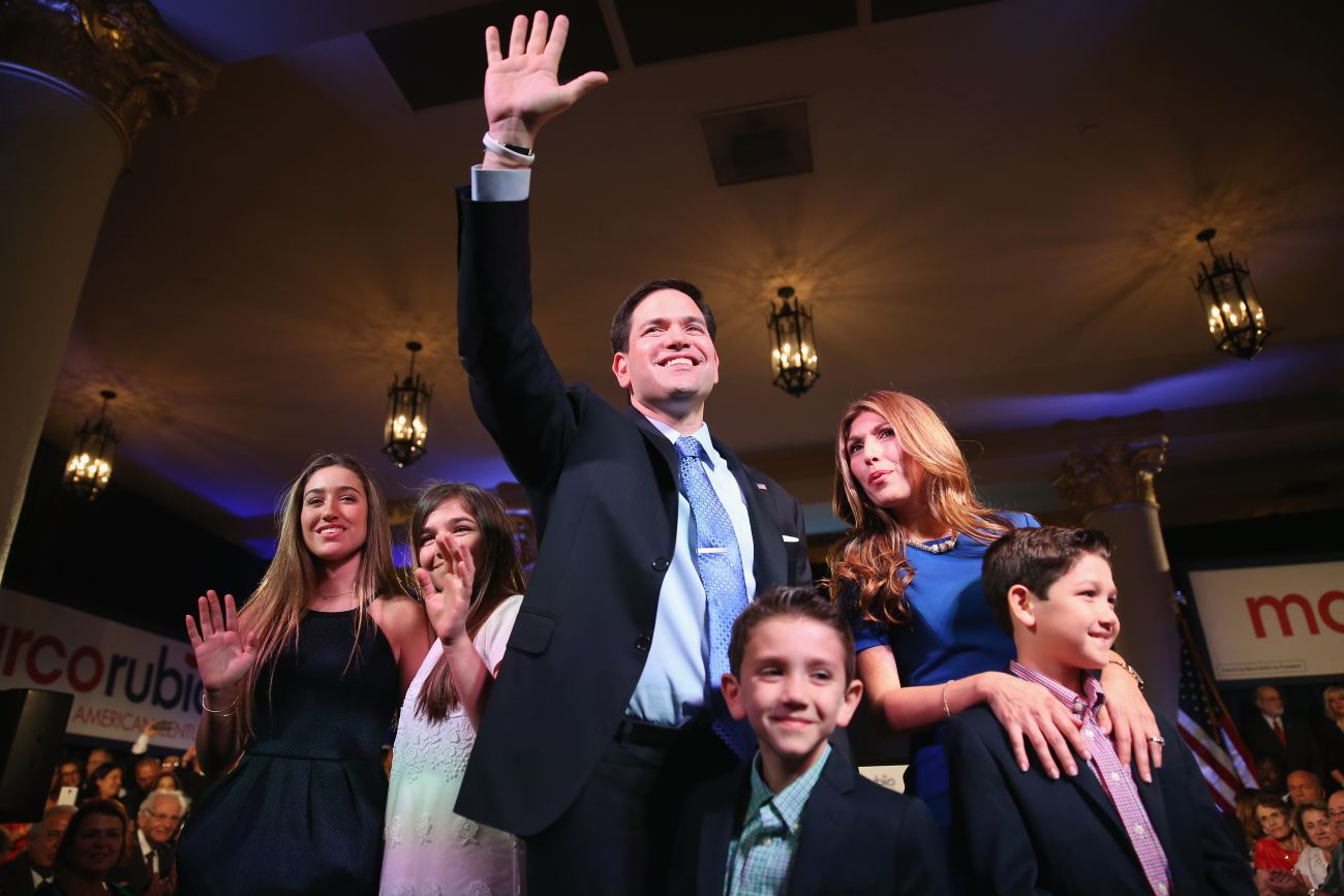U.S. Sen. Marco Rubio, R-Fla., stands with his family after announcing his candidacy for the Republican presidential nomination on April 13, 2015. (Getty)