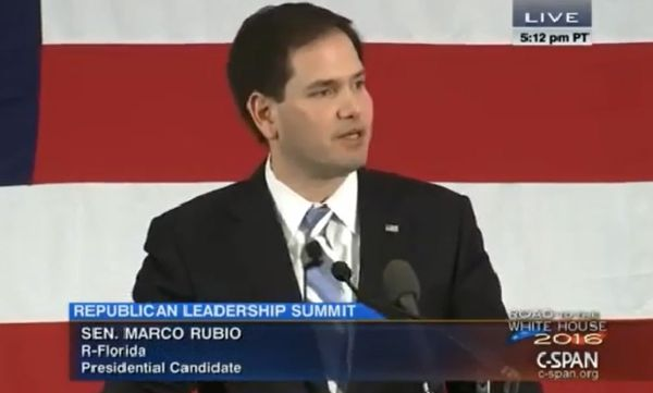 Sen. Marco Rubio, R-Fla., addressed the New Hampshire Republican Party Leadership Summit in Nashua, N.H., on April 17, 2015.