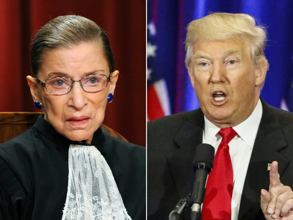 U.S. Supreme Court Justice Ruth Bader Ginsburg made critical comments about presumptive Republican presidential nominee Donald Trump. (Getty Images)