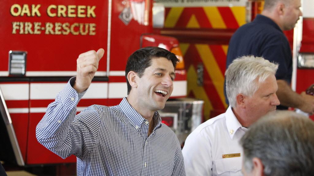 Republican vice presidential nominee Paul Ryan campaigns in Oak Creek, Wis.