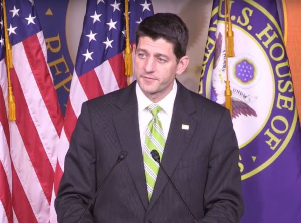 House Speaker Paul Ryan, R-Wis., addresses reporters after announcing that he was pulling the American Health Care Act before it went to a vote on March 24, 2017.