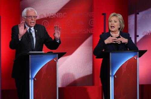 Democrats Bernie Sanders and Hillary Clinton debate in New Hampshire Feb. 4, 2016