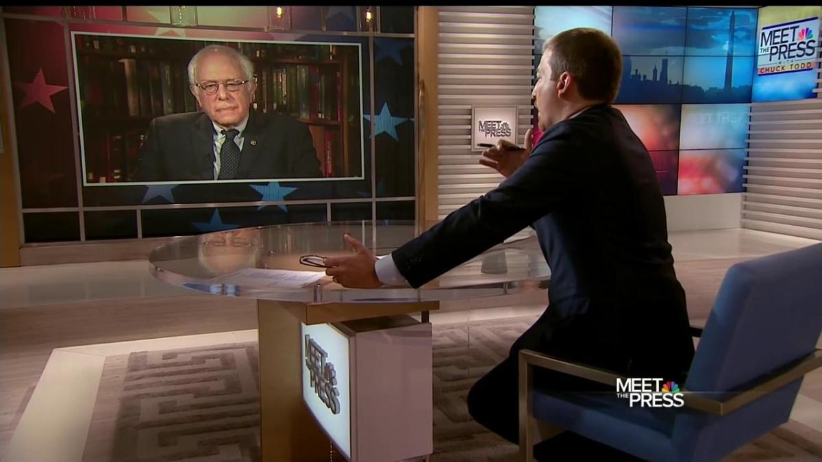 "Sen. Bernie Sanders discussing his comments about Hillary Clinton's presidential qualifications on NBC's ""Meet the Press"" with host Chuck Todd on April 10, 2016. (NBC photo)"