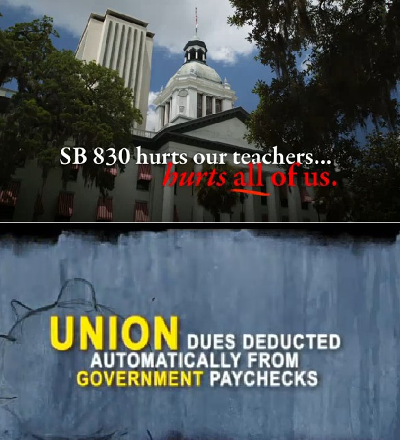 A bill that would put restrictions on how unions collect their dues has led to dueling ads.