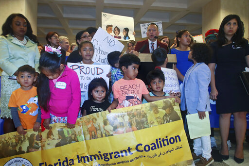 Immigration advocates protested SB 168, a sanctuary cities ban, on April 23, 2019, during a press conference in the Florida Capitol in Tallahassee, Fla. (AP)