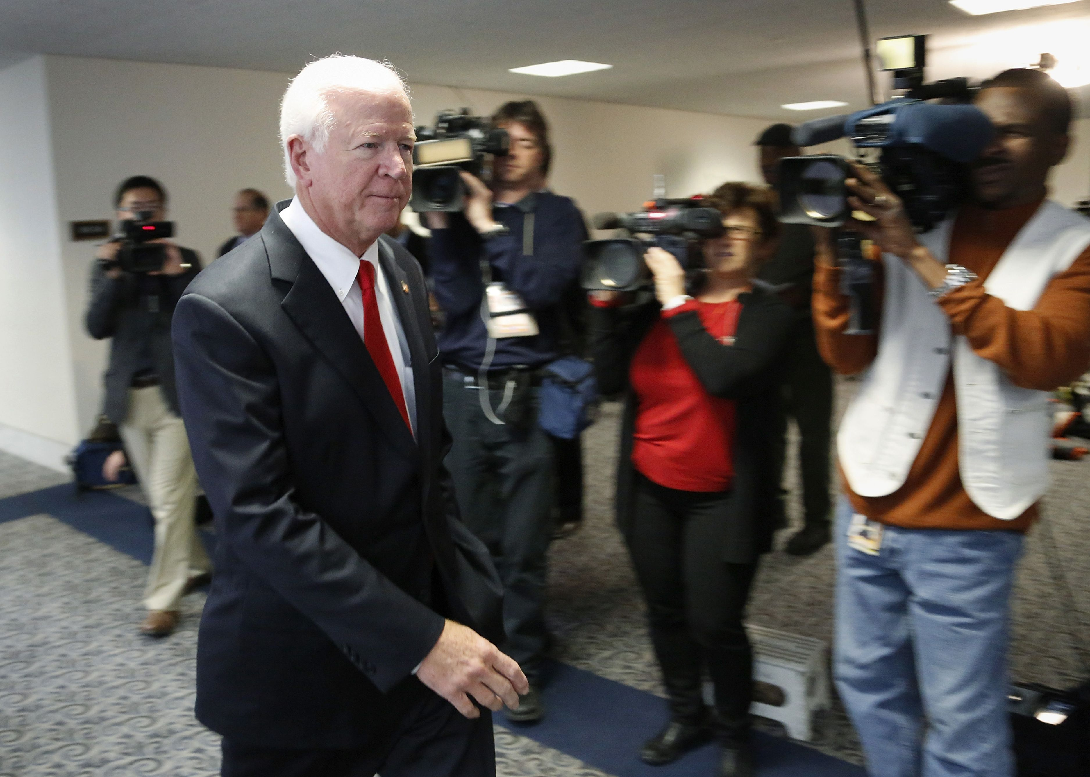 U.S. Sen. Saxby Chambliss, R-Ga., arrives at a closed door hearing on Capitol Hill. The senator announced Friday he will retire rather than seek re-election in 2014 for a third term.
