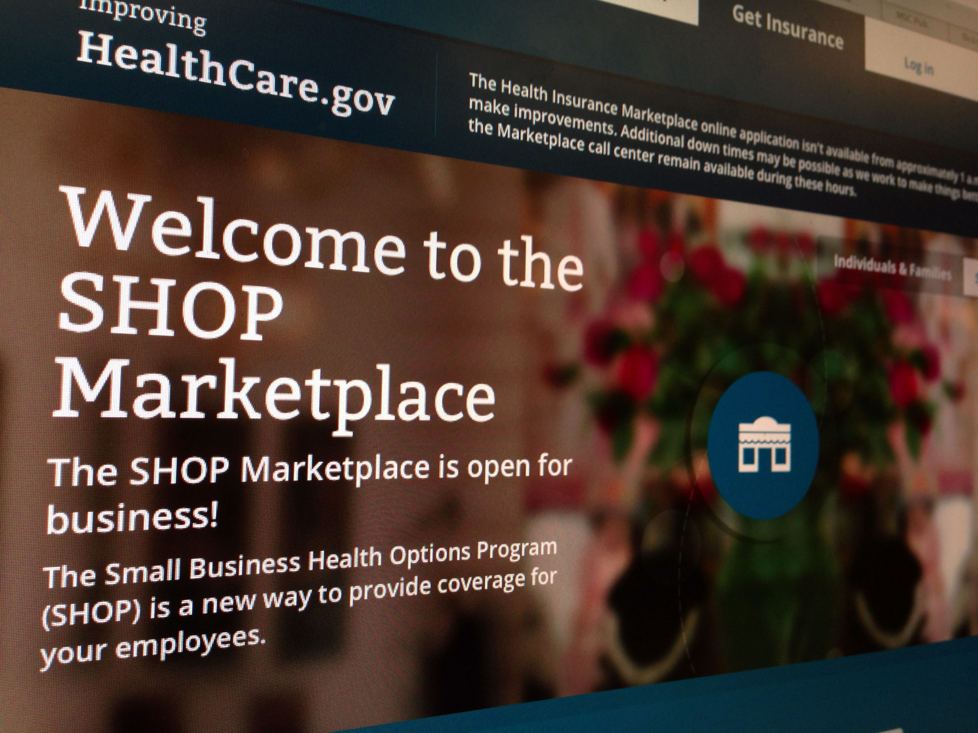 This file photo of part of the HealthCare.gov website page featuring information about the SHOP Marketplace is photographed in Washington. Photo credit: AP