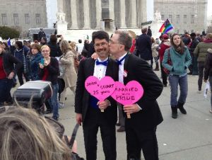 The Supreme Court is about to rule on same-sex marriage. John Lewis, 54, kissed his partner Stuart Gaffney, 50, outside the court in March when oral arguments were heard.