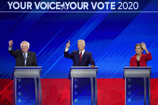Democratic presidential candidates Sen. Bernie Sanders, I-Vt., former Vice President Joe Biden and Sen. Elizabeth Warren, D-Mass., sparred over health care at the Democratic presidential primary debate in Houston. (AP)