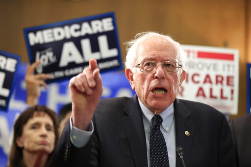 Sen. Bernie Sanders, I-Vt., introduces the Medicare for All Act of 2019, on Capitol Hill in Washington. (AP Photo/Manuel Balce Ceneta)