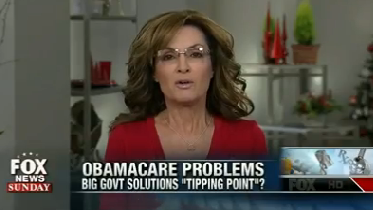"""On """"Fox News Sunday,"""" former Alaska Gov. Sarah Palin said: """"There will be fewer people being covered under a sensible doctor-patient relationship centered health care program under Obamacare than what we see today."""""""