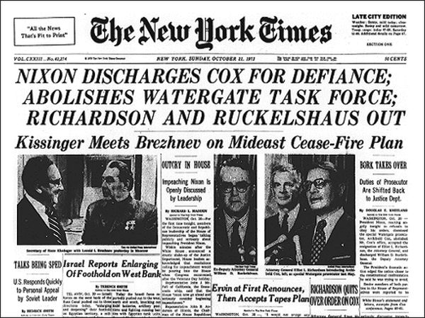 The front page of the New York Times reporting the Saturday Night Massacre.