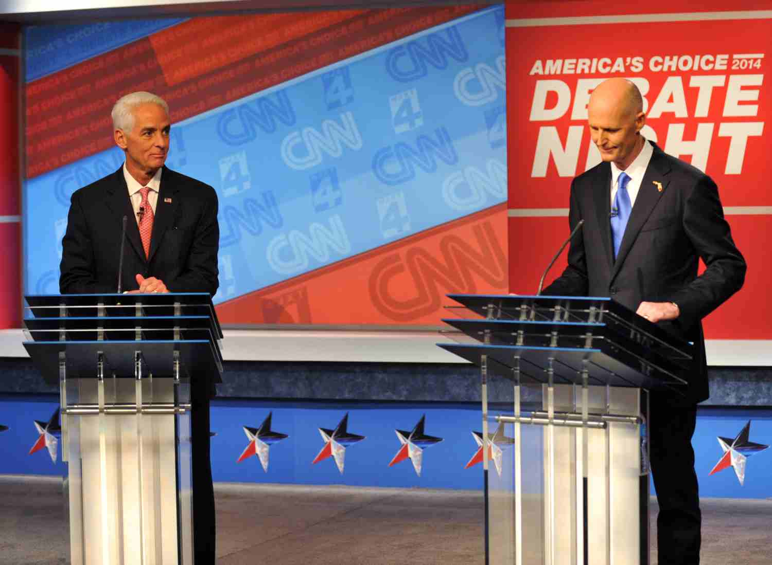 Former Gov. Charlie Crist and current Gov. Rick Scott debated in Jacksonville on Oct. 21, 2014.
