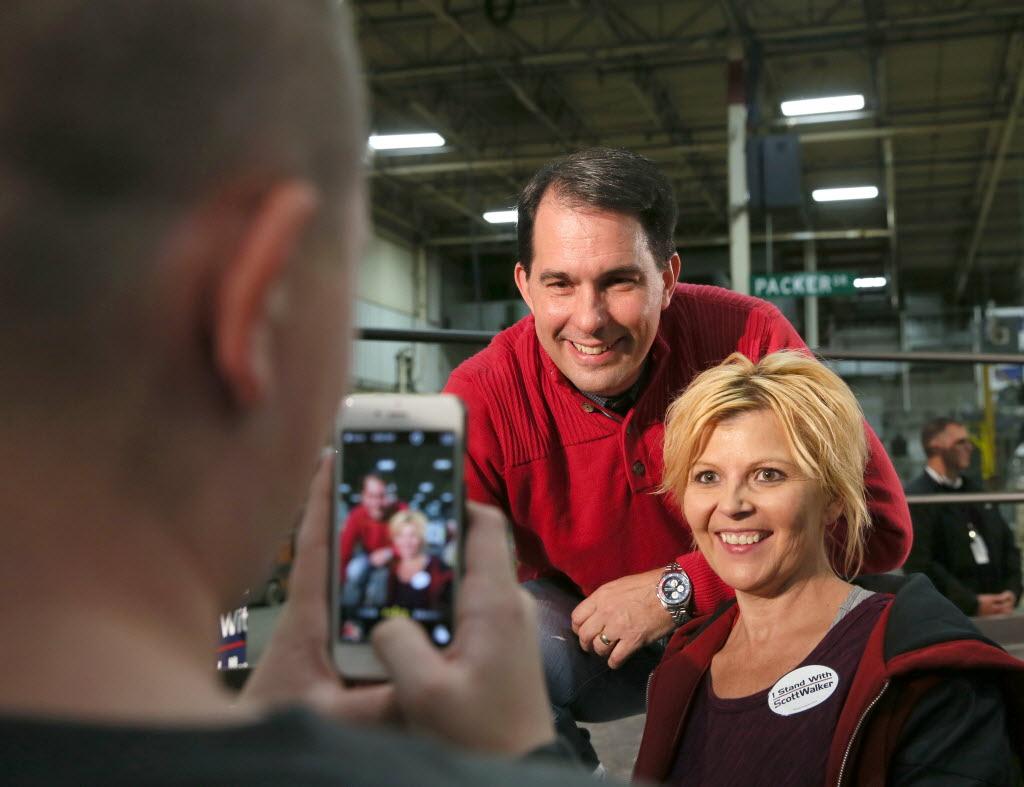 Gov. Scott Walker held a campaign rally at K.I. Inc., a furniture maker in Green Bay, Wis., on Nov. 3, 2014.