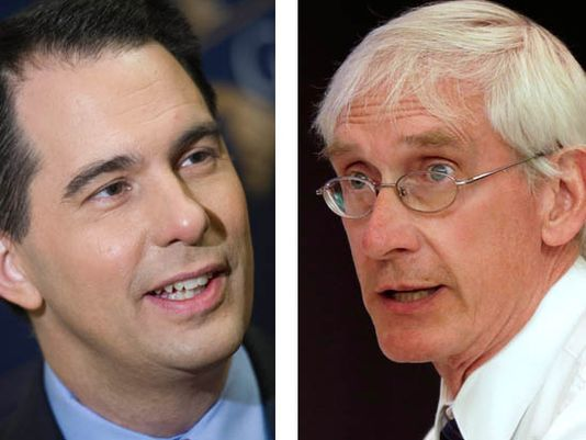 Republican Scott Walker (left) is seeking a third four-year term as governor. Democrat Tony Evers is the longtime state schools superintendent.