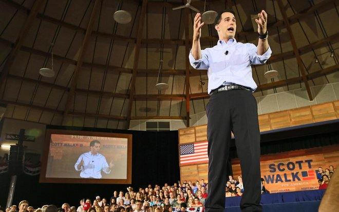 Gov. Scott Walker announced July 13, 2015 in suburban Milwaukee that he was a candidate for president in 2016. (Michael Sears photo)