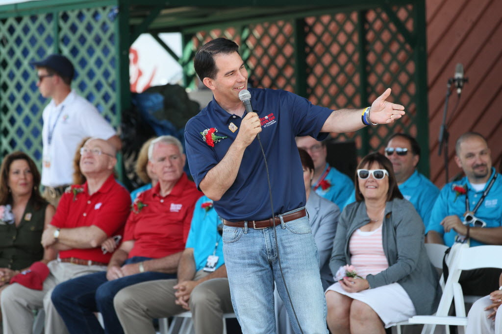 Gov. Scott Walker spoke to a crowd gathered for the opening ceremony of the Wisconsin State Fair on July 31, 2014.