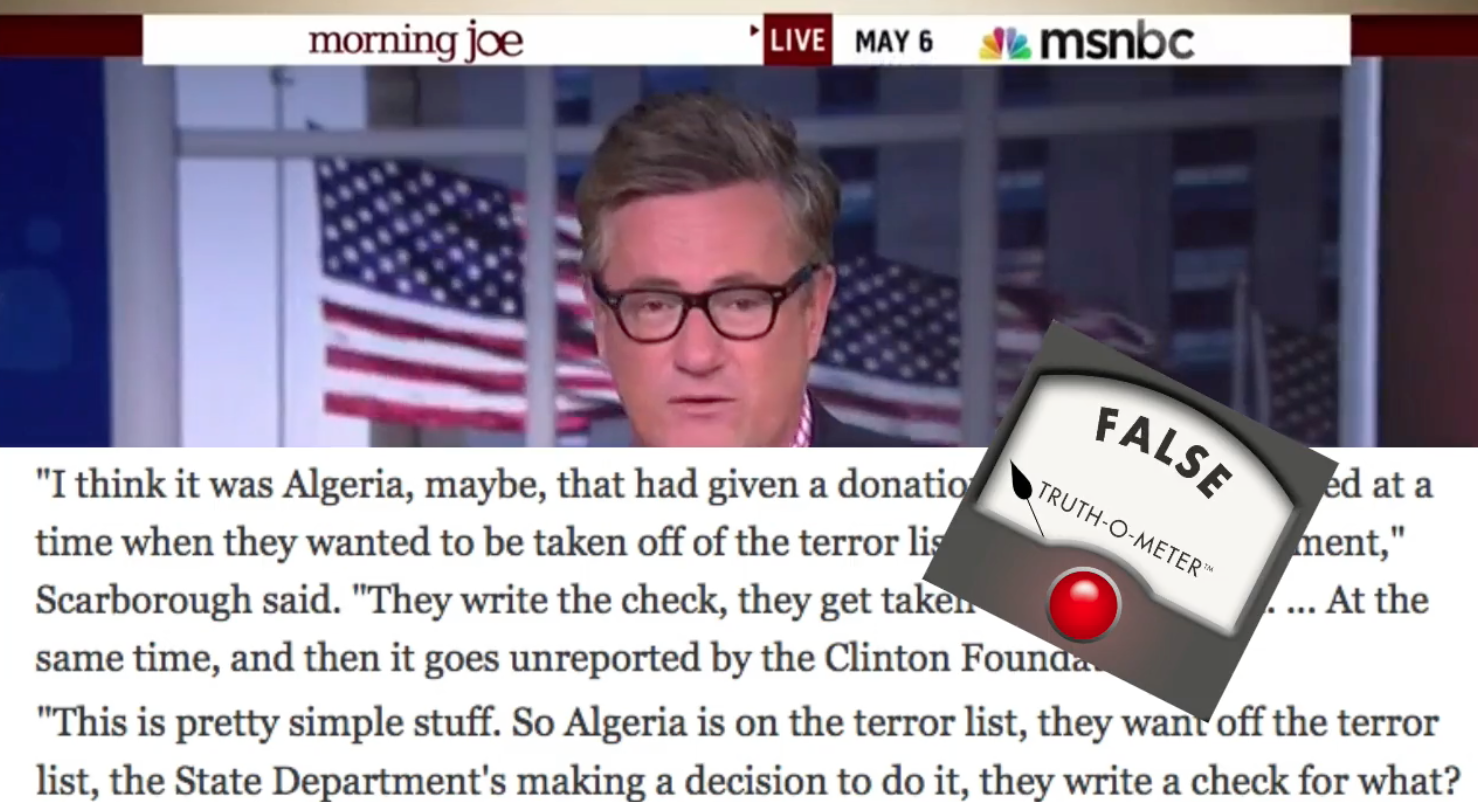 Joe Scarborough discussed our fact-check on his May 6, 2015, show.