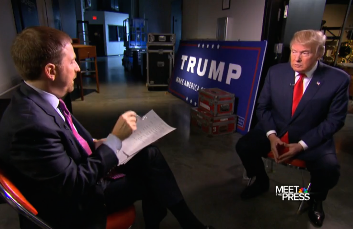 "Chuck Todd interviews Donald Trump on the Jan. 10, 2015, edition of ""Meet the Press."""
