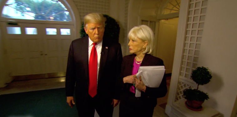 President Donald Trump And CBS Correspondent Lesley Stahl At The White House For An Interview That
