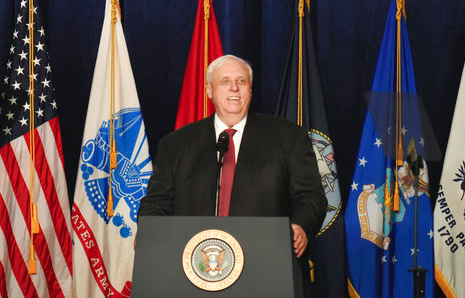 West Virginia Gov. Jim Justice speaks at a Salute to Service charity dinner on July 3, 2018. (AP/Chris Jackson)