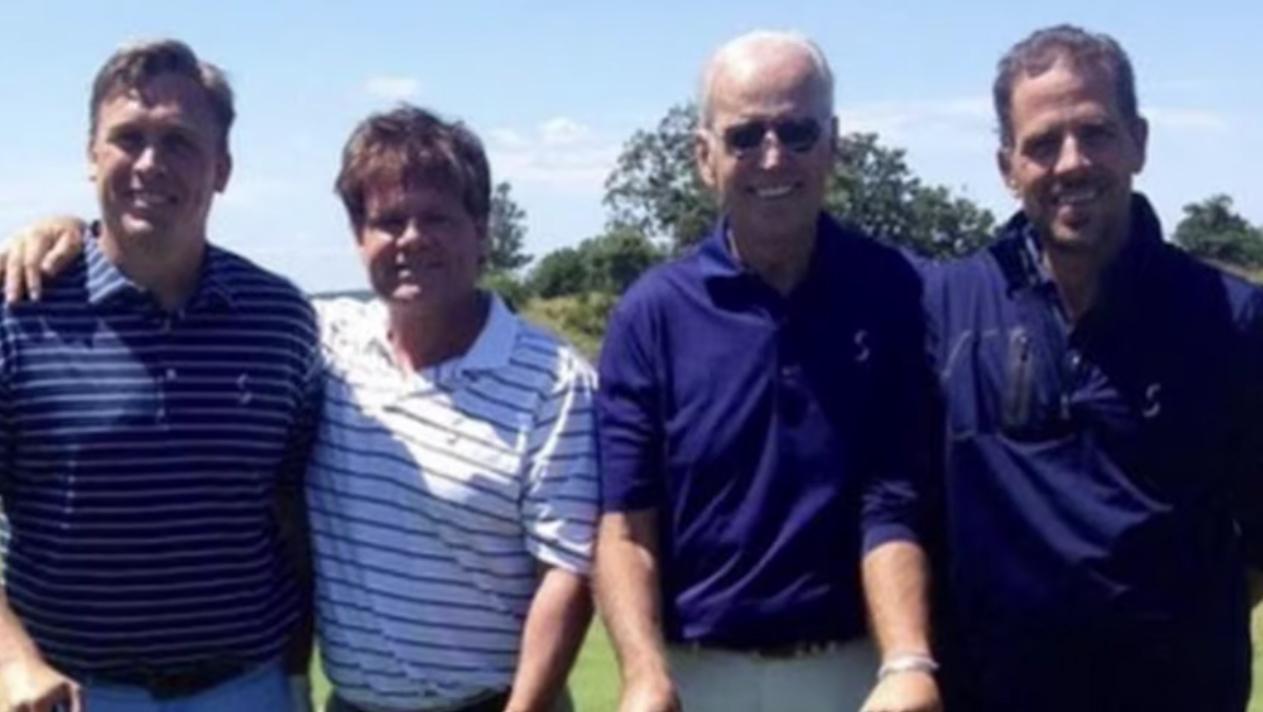 Devon Archer (far left) is pictured with Joe and Hunter Biden. (Screenshot from Twitter)