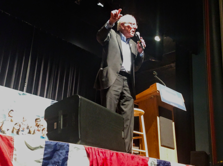 Sen. Bernie Sanders, I-Vt., at a speech in Ames, Iowa, on Jan. 25, 2020. (Louis Jacobson/PolitiFact)