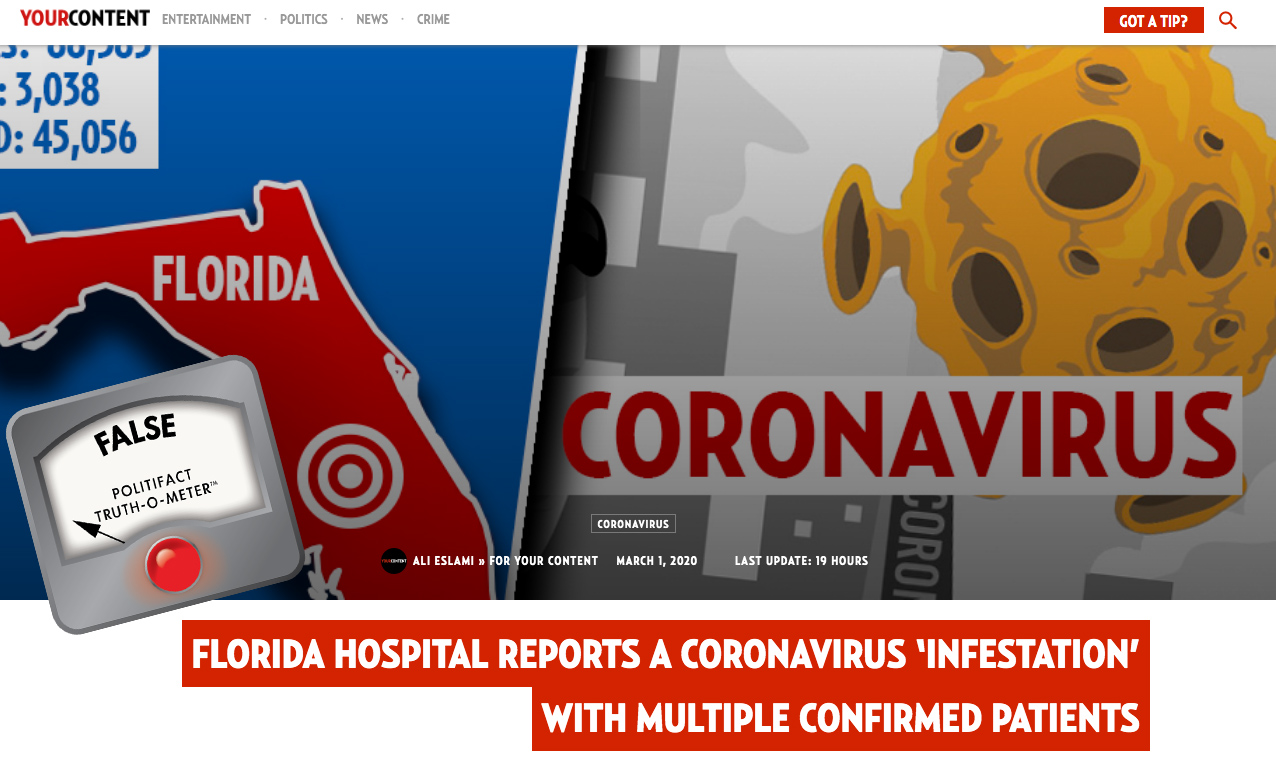 Politifact False News Site Publishes Unproven Story About Florida Coronavirus Patients