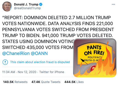 PolitiFact | Trump's tweet about 2.7 million deleted votes is baseless