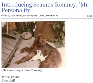 The Boston Globe broke the story of Seamus and his reported fondness for the rooftop of the Romney station wagon.