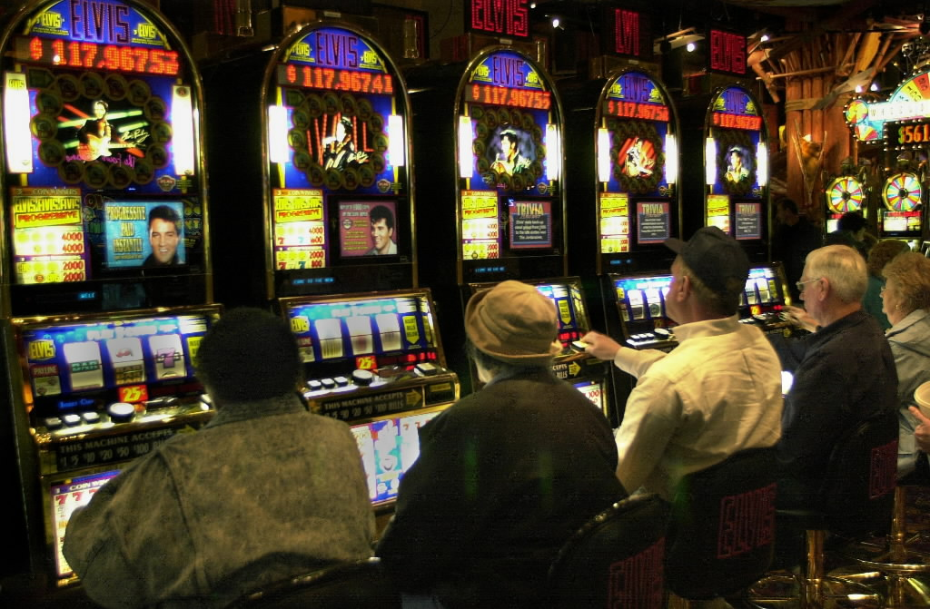 Gamblers play the slot machines at Potawatomi Bingo Casino in Milwaukee.
