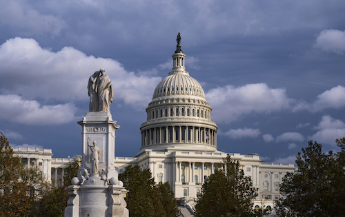 The U.S. Capitol in Washington on Nov. 12, 2019. At left is the Peace Monument. (AP)